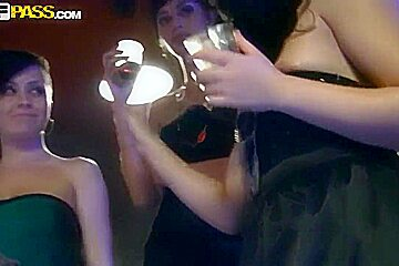 Slutty and horny college chick sucking dicks anf fucking right in the nighr club