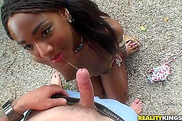 Teen and pretty Ebony girl Cleopatra Hendrix sucks and rides Josh's white cock