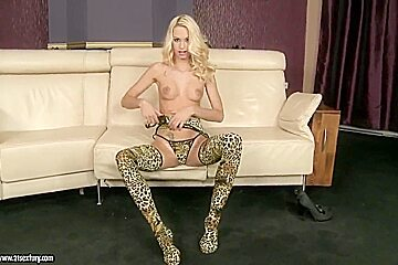 Blonde babe Erica Fontes with teases us with her sexy legs and feet playing with her pussy