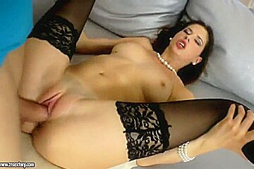 Brunette with delicious boobies gets nailed like a whore
