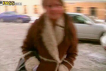 Young looking brunette Mystica sucks cock in public