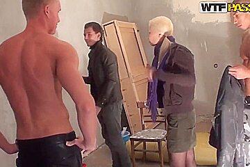 Adorable blonde Dulsineya seduces couple hot studs
