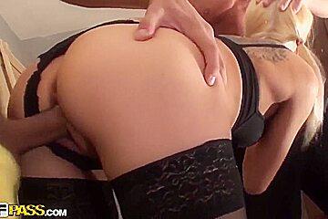 Teen blonde in stockings Dulsineya gets fucked by a group of ex boyfriends