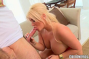 Dirty big ass blonde Julie Cash enjoys in hot pussy licking