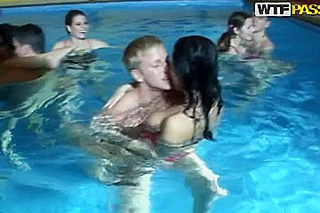 So wild hot and nice college orgy by the pool