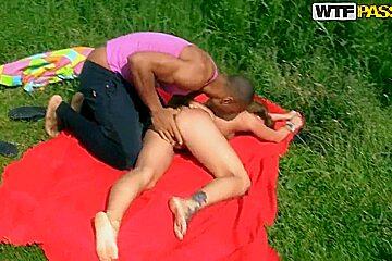 Ally, Eniko, Madelyn, Mystica have outdoor sex