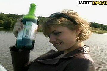 Hot Russian bitch Cofi undresses outside and has fun
