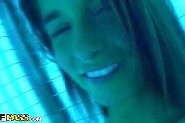 Hot brunette Nessa Devil and her boyfriend get kinky in sollarium