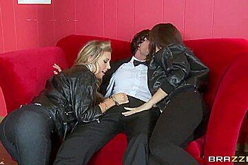 Chanel Preston and Samantha Saint caress cock