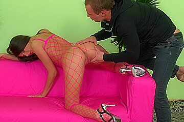 Agnessa in slut fucks while wearing high heel platform shoes