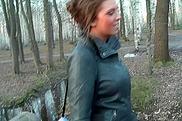 Ally in outdoor sex vid showing a sloppy blowjob