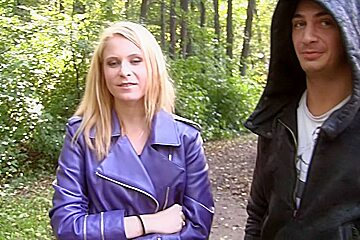 Amber Daikiri in outdoor sex scene with a chick sucking big schlong