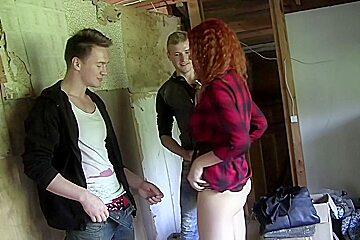 Eva Berger in eva berder fucks two guys in a pickup porn