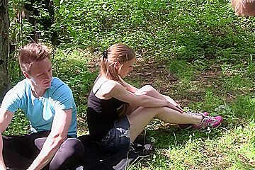 Ginger in outdoor sex vid shows ginger in a hot threesome porn