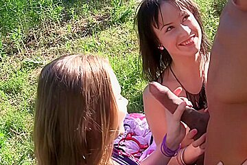 Albina & Ava & Taylor & Zoe in outdoors hardcore video with sexy students
