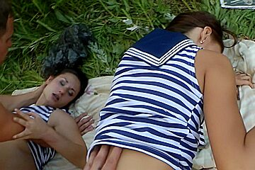 Adeline & Joana & Bianca in the hottest young fuck porn filmed in nature