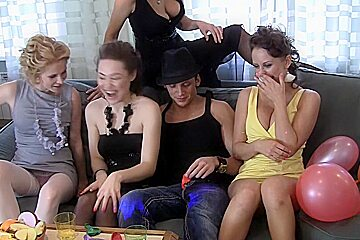 Cofi & Magma & Naelya & Trixy & Venera & Amber Daikiri in lesbian college chicks making sweet love