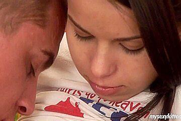 Pierced brunette teen Sonja take cock