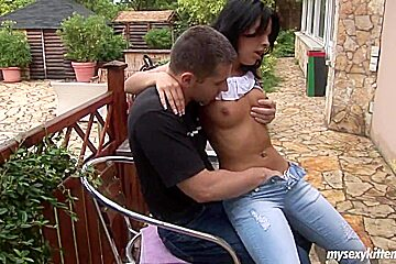 Teen Annabella gets pussy fucked outdoors
