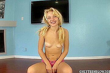 Fresh blonde Ally Winters is teenage deep throater
