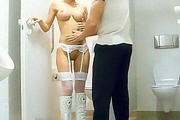 Breasty dark brown acquires nude in hotel washroom