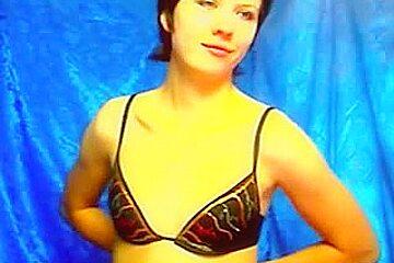 Slim brunette hair stripped in webcam