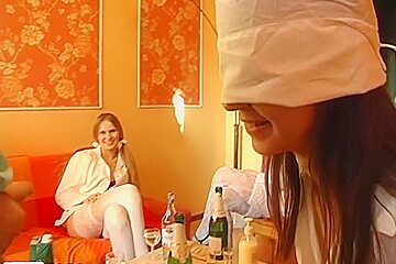 Ester & Yalena & Yulia & Zlata in group sex scene showing real college fucking