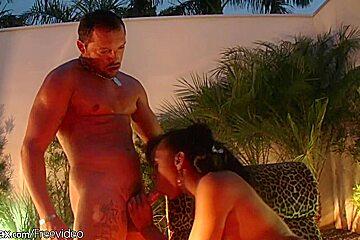 Hot ebony shemale with hazel eyes gets anal fucked
