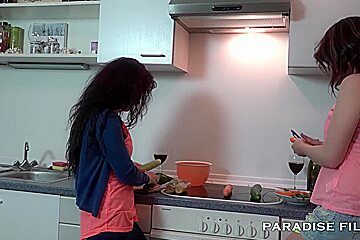 German Lesbians making out in the kitchen