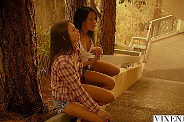 VIXEN Riley & Megan Fuck Neighbour In Daring Threesome