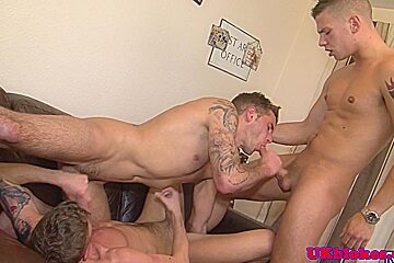 Three musculed british jocks facefucking