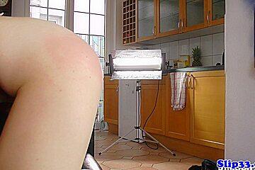 Cocksucking polish beauty spanked by oldmale
