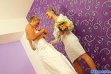 Lesbian gloryhole brides bukkakke covered