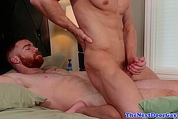 Ginger muscle doggystyles stud before cumshot