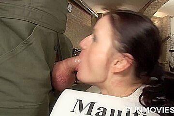 German Skinny bitch in bukkake shower