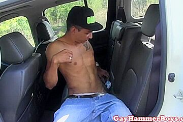 Ripped twink jerking off until cum on sixpack