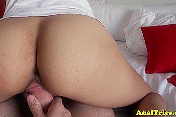 Busty girlfriend anally pounded pov by bf