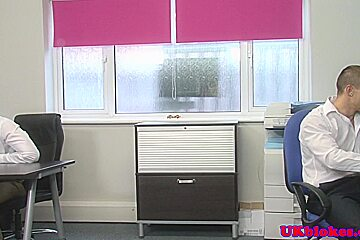Office stud banging hunk up his tight bum