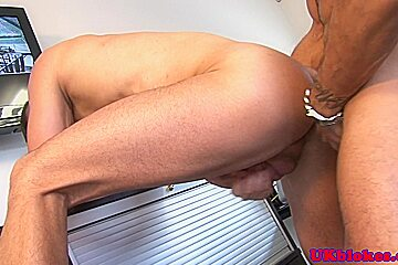 Handsome office hunk banging inked studs ass