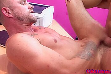 Inked office stud assfucked by handsome boss