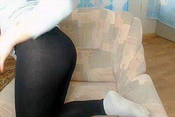 Nice girl in see thru leggings