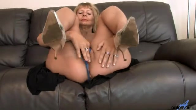 Breasty Aged Fingering Her Hirsute Wet Crack